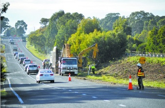roadside HAZARDS on roadworks near Traralgon
